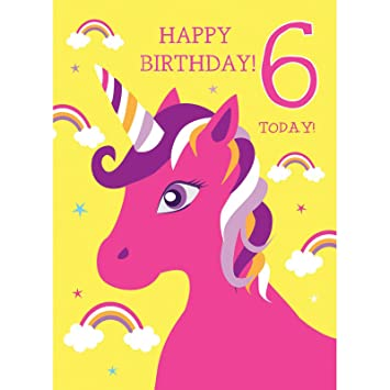 6th Birthday Card For Girl Unicorn Rainbows Glitter Happy 6 Today