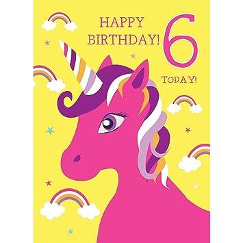 6th Birthday Card For Girl Unicorn Rainbows Glitter Happy 6 Today