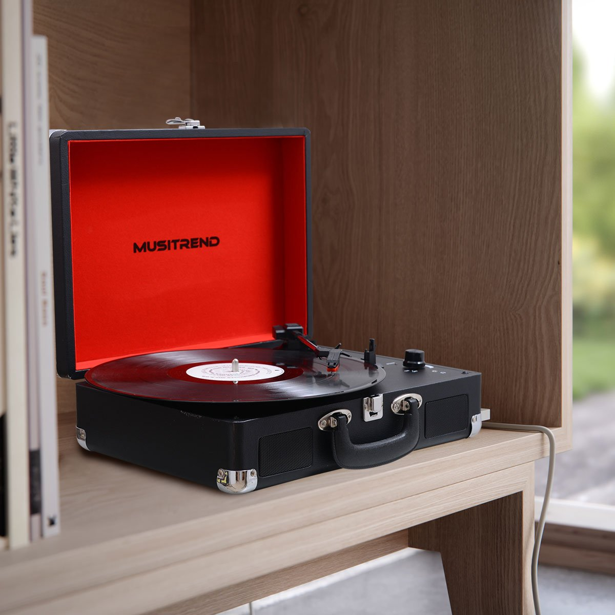 MUSITREND Tocadiscos 33/45/78 RPM, Maleta Portátil con 2 Altavoces Integrados, con RCA, Auriculares y Line in Montado, Negro