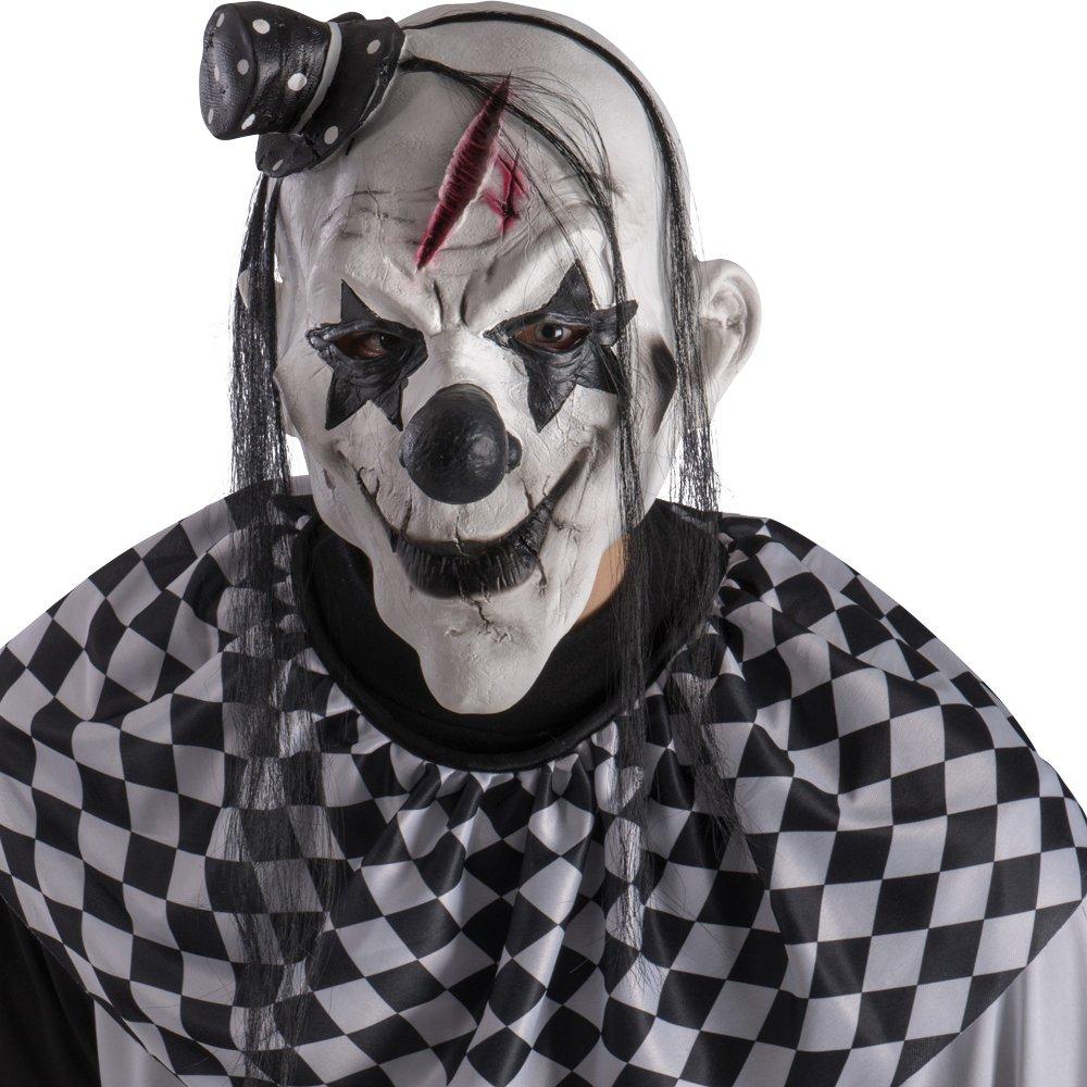 Máscara payaso de terror con pelo y gorra