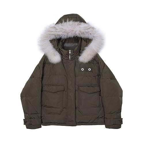 El Gran Collar de lana de invierno manga murciélago breve párrafo Down Jacket hembra