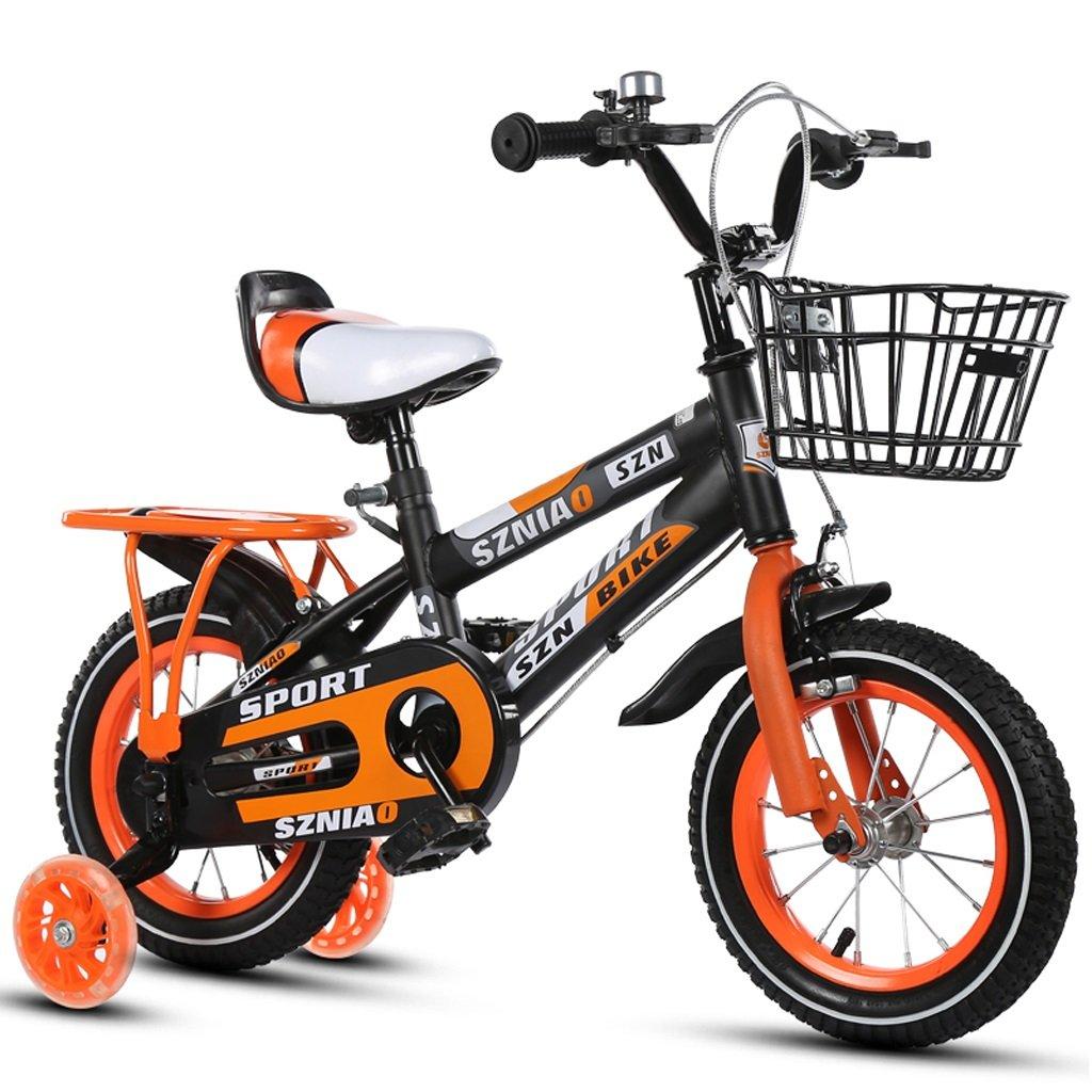 子供用自転車4-7男性と女性の乳母車16インチ子供用自転車高炭素鋼フレーム、オレンジ/青/赤 (Color : Orange) B07CZXQMPY