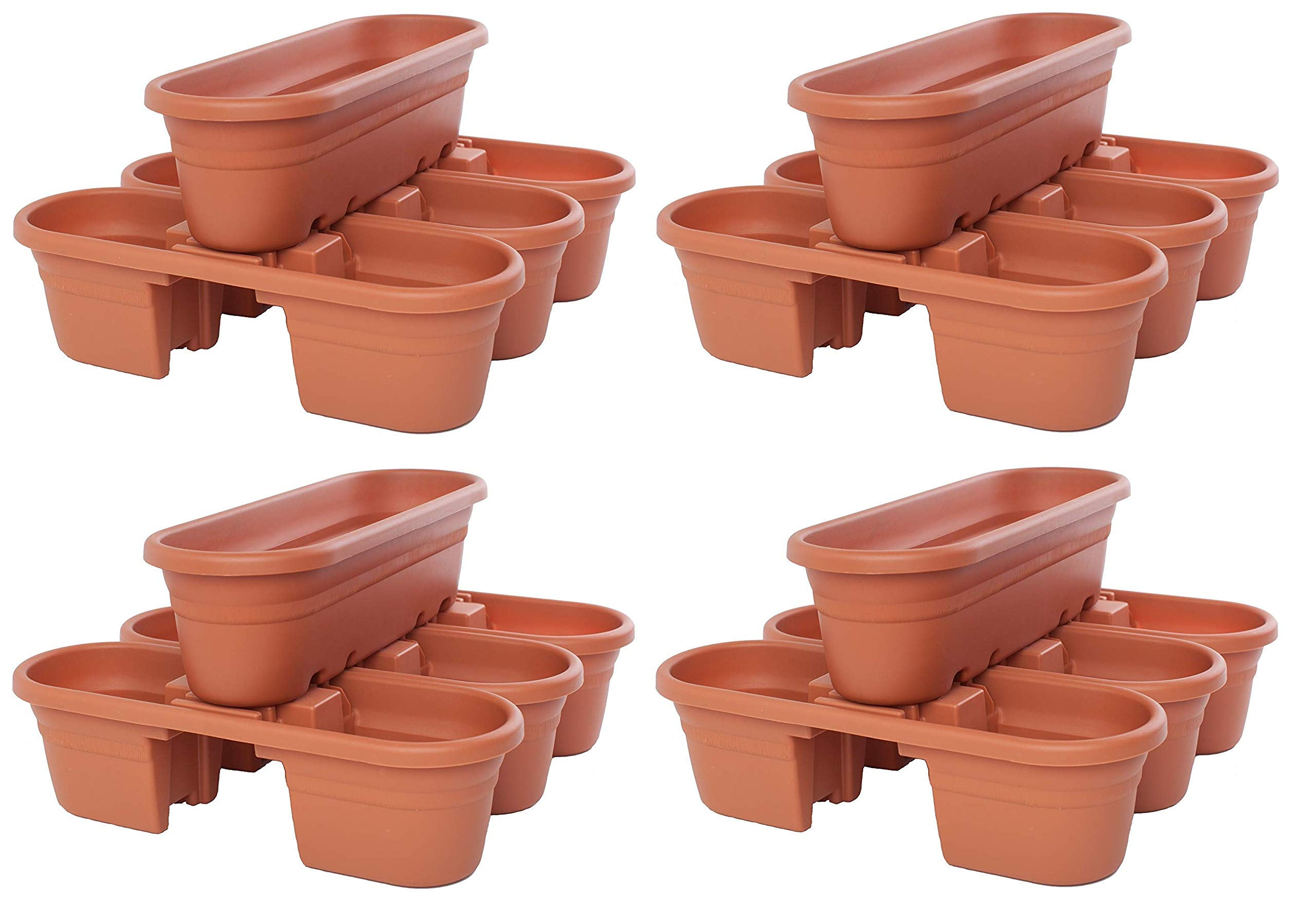 Bloem Milano Rail Planters, Terra Cotta, (4 X Pack of 4)