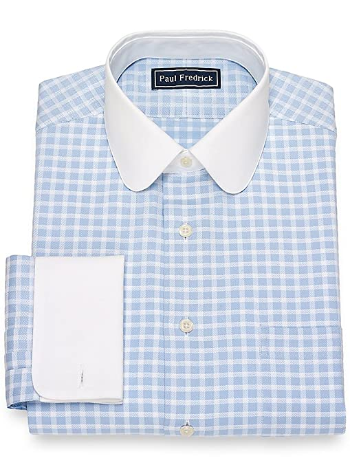 1920s Style Mens Shirts | Peaky Blinders Shirts and Collars Paul Fredrick Mens Slim Fit Twill Check Dress Shirt $84.50 AT vintagedancer.com