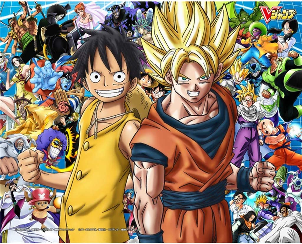 QINGQING Dragon Ball Z Y One Piece Rompecabezas Imposibles para Adultos 1000/500/300 Piece Cartoon Anime Toys Juegos Painting Puzzle(Size:500)