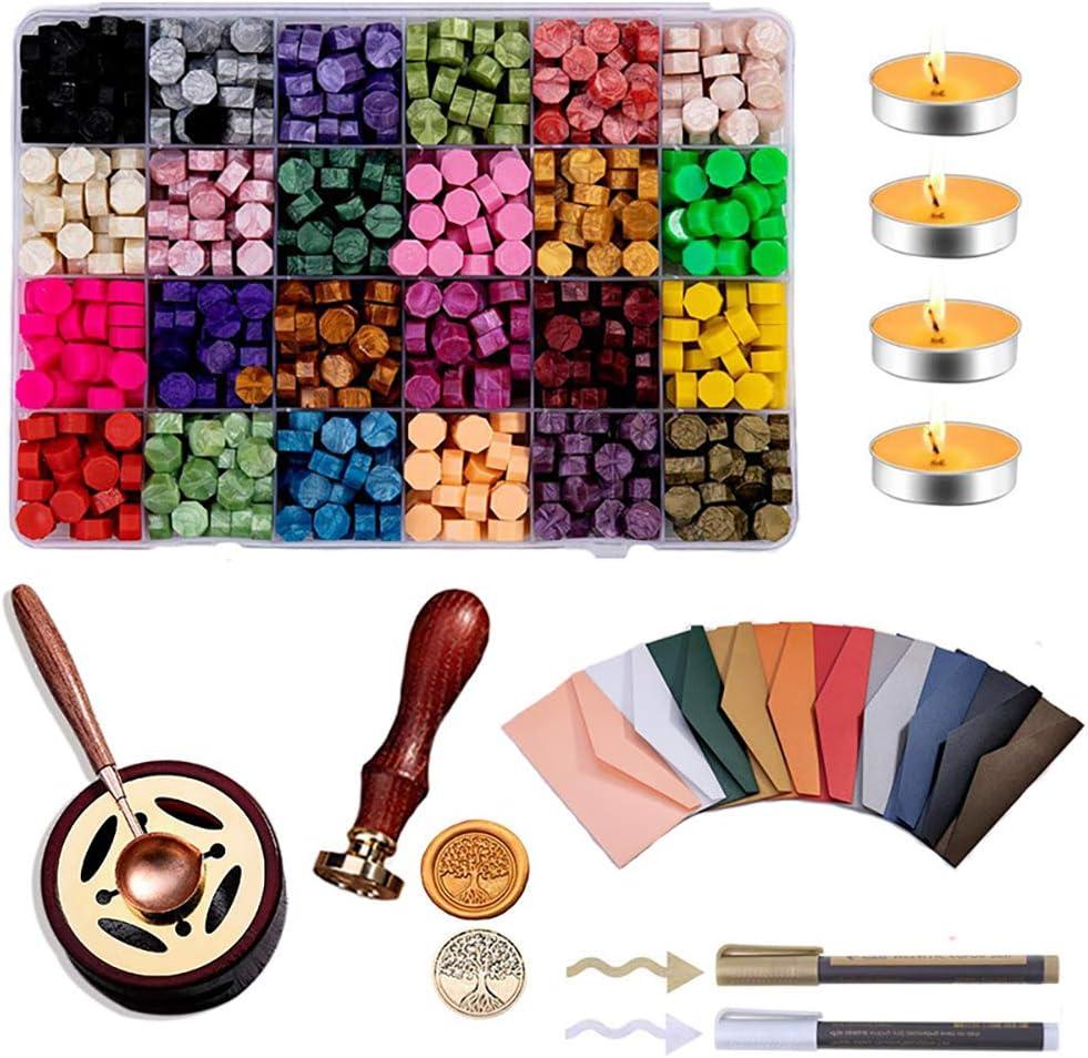Artigianato Pacchi 1 Set Buste Carte Porcyco Set di Sigilli di Vernice Antincendio Retr/ò Kit di Ceralacca 24 Colori Perline di Cera per Timbro Ceralacca