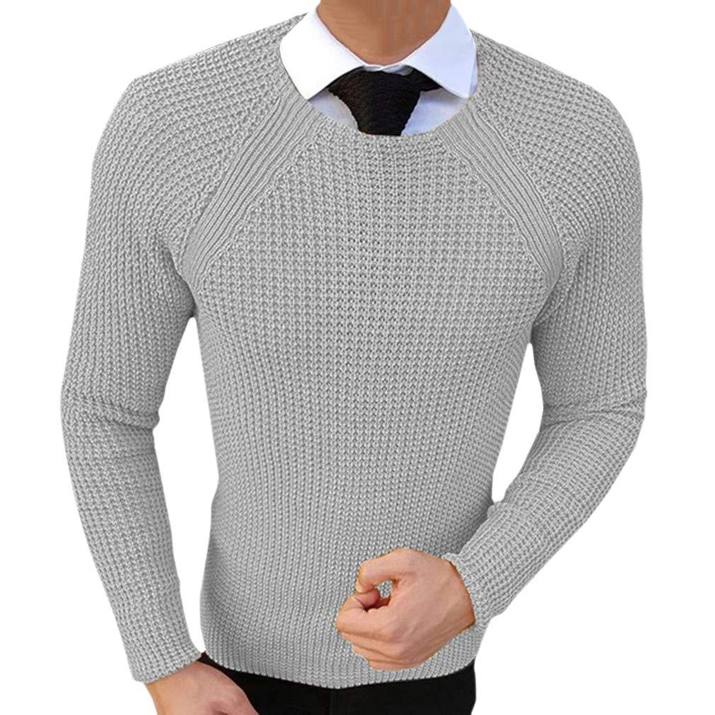 Uomo Maglione Lavorato a Maglia Collo Rotondo Slim Fit Pullover Tops Autunno Inverno Caldo Felpa Manica Lunga Jumper Sweatshirt