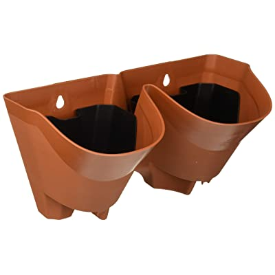 Worth Self Watering Vertical Wall Planter Flowerpot,Hanging Plant Pots W/ 2-Pockets and 3pc Filter Layer,Terracotta,Perfect for Indoor & Outdoor DecorxFF08;Buy 3 Sets GetxFF09;: Garden & Outdoor