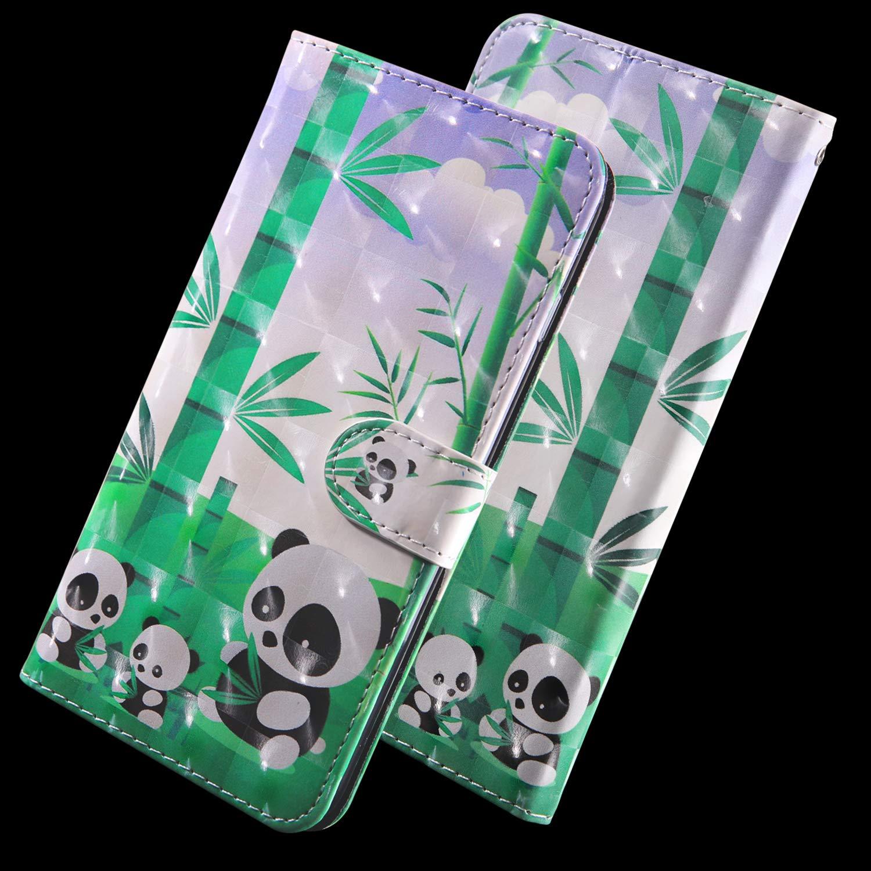 Panda iPhone X Carcasa con Tapa Flip Case Antigolpes Golpes Cartera PU Cuero Suave con Correa Cordel para iPhone XS//iPhone X Abuenora Funda Libro para iPhone XS