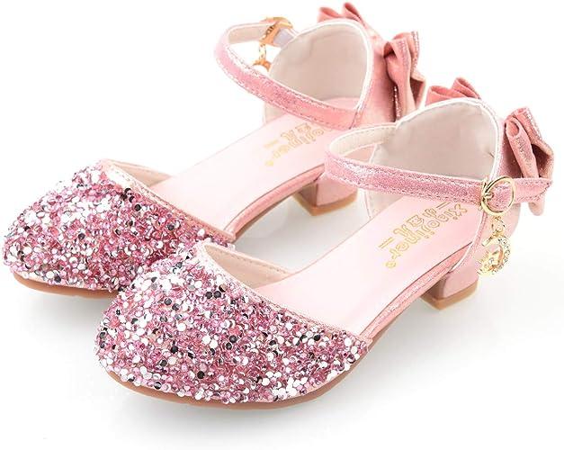Prinzessin Schuhe Kinder Mädchen Glitzer Hocheit Partyschuhe Absatz Sandalen