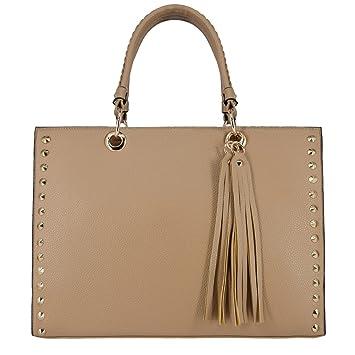 87c1a0a204e49 CRAZYCHIC - Damen Gold Nieten Tote Handtasche - Große Tragetasche  Schultertasche Large Echtes Leder Stil Shopper