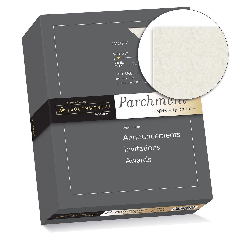 Amazon.com: Southworth Fine Parchment Paper, 24lb, 8.5u0027x11u201d, Ivory, 500  Sheets (984C): Office Products