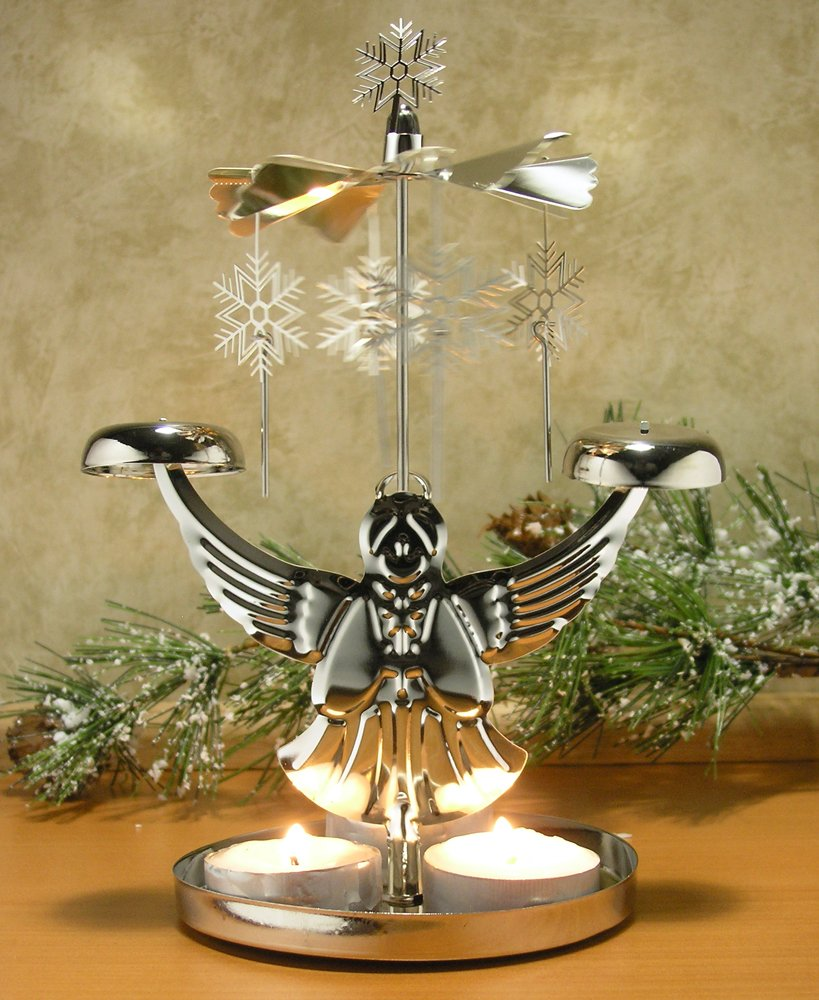 Christmas decoration with candles that spins - Amazon Com Angel Chimes Candle Spinner Snowflakes And Angel Candle Holder Scandinavian Angel Style Christmas Candle Holder Home Kitchen