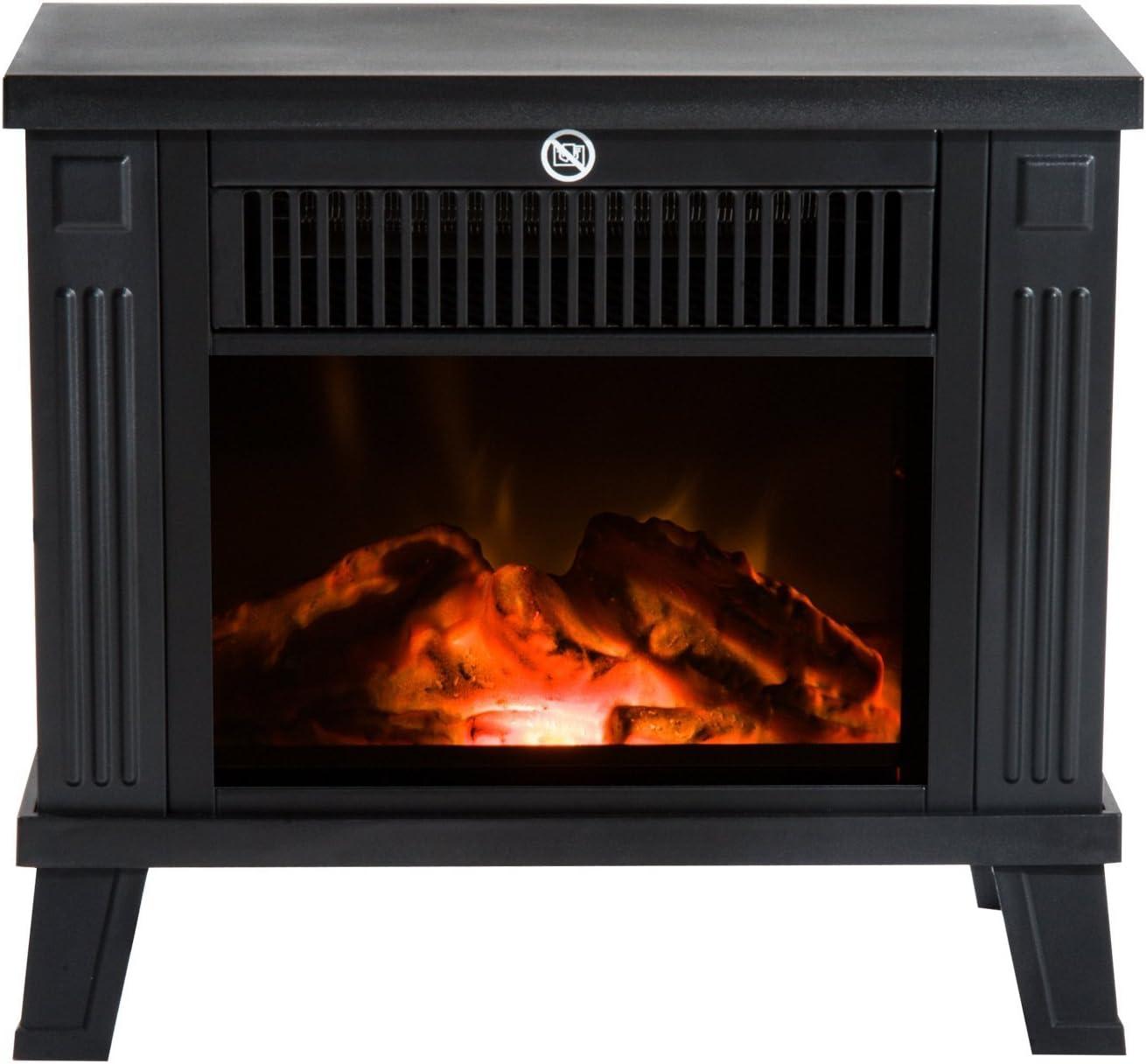 HOMCOM Chimenea Eléctrica Calefactor Tipo Estufa de Pie con Efecto de Leña Ardiendo 600W/1200W 38.5x22x30.5cm Metal Negro