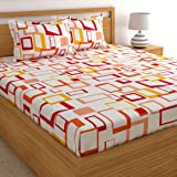 Home Ecstasy 100% Cotton Double bedsheet with 2 Pillow Covers Set, 140tc Geometric Multicolour bedsheets for Double Bed Cotton (Size 7.3ft x 7.7ft)