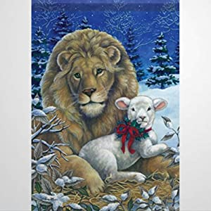 BYRON HOYLE 678664_Lion & Lamb Christmas Garden Flag Decorative Holiday Seasonal Outdoor Weather Resistant Double Sided Print Farmhouse Flag Yard Patio Lawn Garden Decoration 12 x 18 Inch