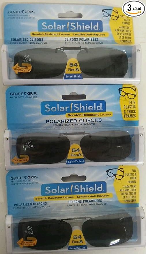 0831ffdc85bca Amazon.com  3 SOLAR SHIELD Clip-on Polarized Sunglasses Size 54 rec A Black  Frameless NEW  Sports   Outdoors