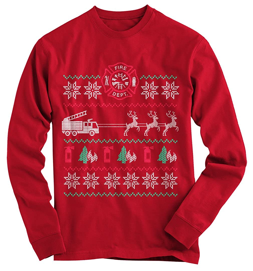 Gnarly Tees Men's Fire Engine Ugly Christmas Sweater