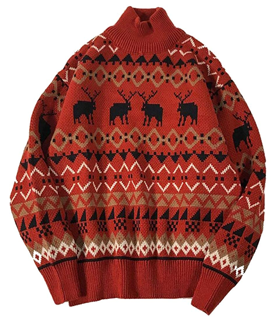 ouxiuli Mens Classic Fit Turtleneck Elk Print Basic Knit Print Thermal Pullover Sweater