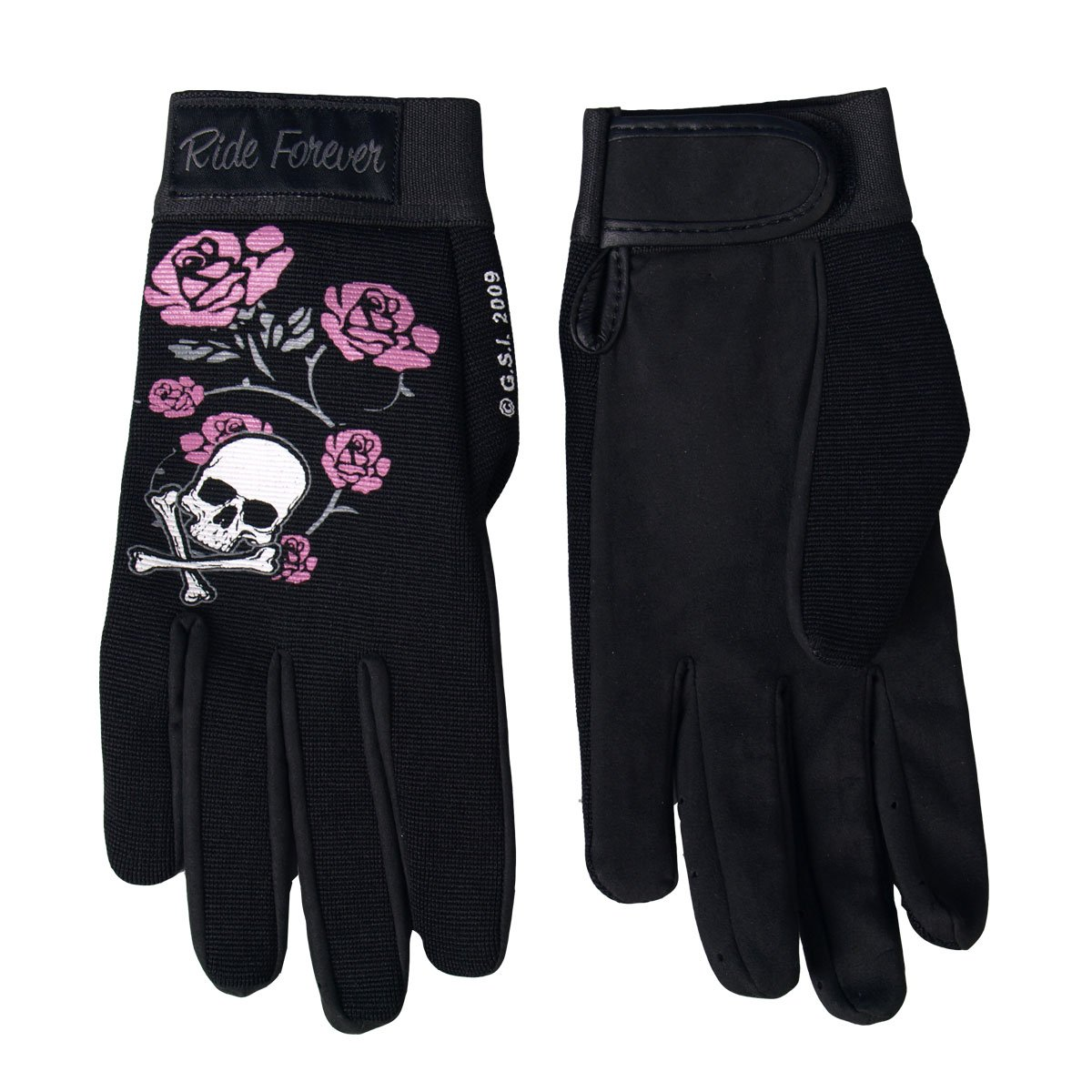 Hot Leathers Womens Skull and Roses Mechanic Gloves Black, X-Small