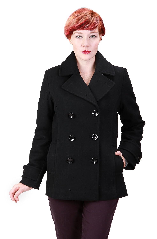Amazon.com: Ramonti Womens Double Breasted Black Wool Pea Coat ...