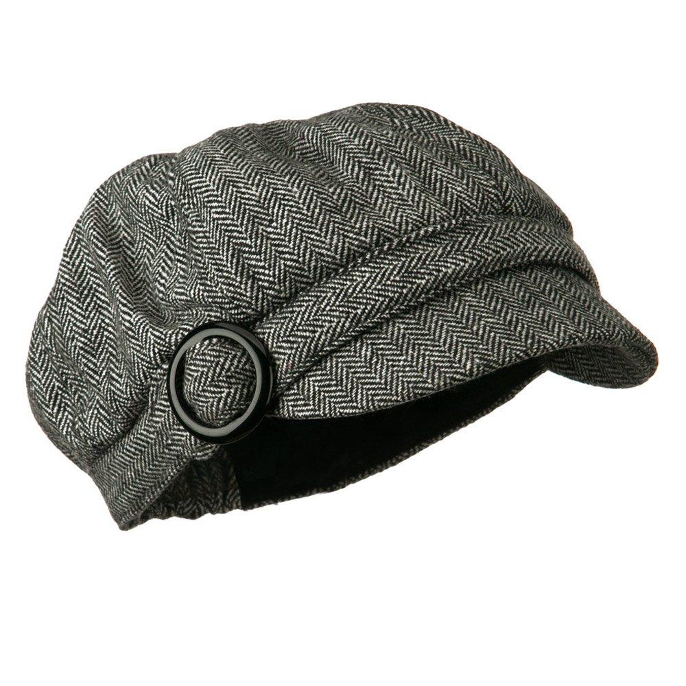 Jeanne Simmons Herringbone Style Wool Newsboy Cap with Round Buckle - Black 7-1-4
