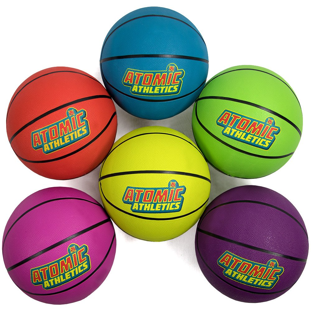 Atomic Athletics 6 Pack of Neon Rubber Playground Basketballs - Regulation Size 7, 9.5'' Balls with Air Pump and Mesh Storage Bag by K-Roo Sports