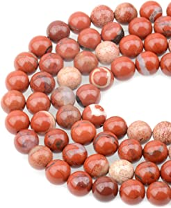 LPBeads 100PCS 8mm Natural Red Jasper Gemstone Round Loose Beads for Jewelry Making with Crystal Stretch Cord