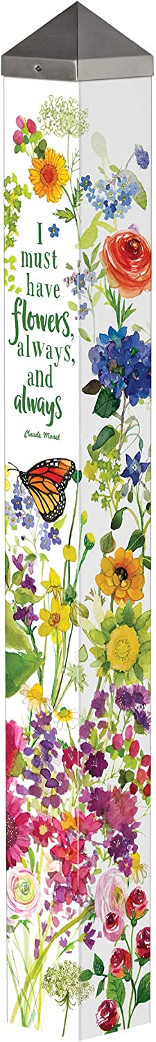 Studio M Watercolor Flowers Art Pole Outdoor Decorative Garden Post, Made in USA, 40 Inches Tall