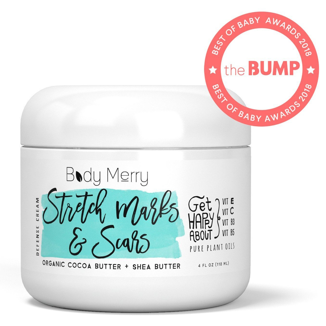 Stretch Marks & Scars Defense Cream Daily Moisturizer w Organic Cocoa Butter + Shea + Plant Oils + Vitamins to Prevent, Reduce and Fade Away Old or New Scars Best for Pregnancy, Men/Bodybuilders (4oz) by Body Merry