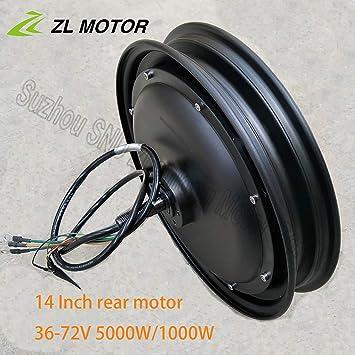 GZFTM - Motor eléctrico para Bicicleta eléctrica (14 Pulgadas, 48 V, 60 V, 72 V, 500 W, 1000 W, buje Trasero sin escobillas, Horquilla de 135 mm), 1000W48V: Amazon.es: Deportes y aire libre