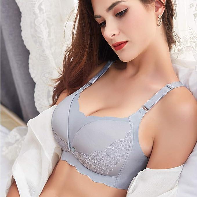 Details about  /muqian wire free no sagging gather bra cotton lace fashion maternity pregnancy w