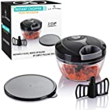U.S. Kitchen Supply Mini Instant Chopper Food Processor with Chopping & Mixing Blades - Slice, Mince, Chop or Blend Vegetables, Fruit, Nuts, Herbs, Onions and Salsas