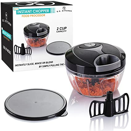 U.S. Kitchen Supply Mini Instant Chopper Food Processor With Chopping U0026  Mixing Blades   Slice,