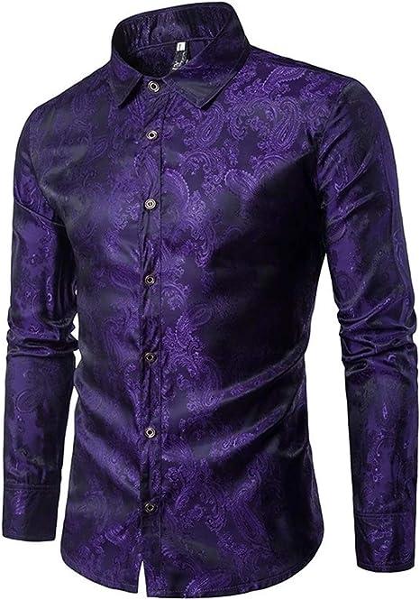 Camisa de satén de Seda con Estampado de Flores para Hombres ...