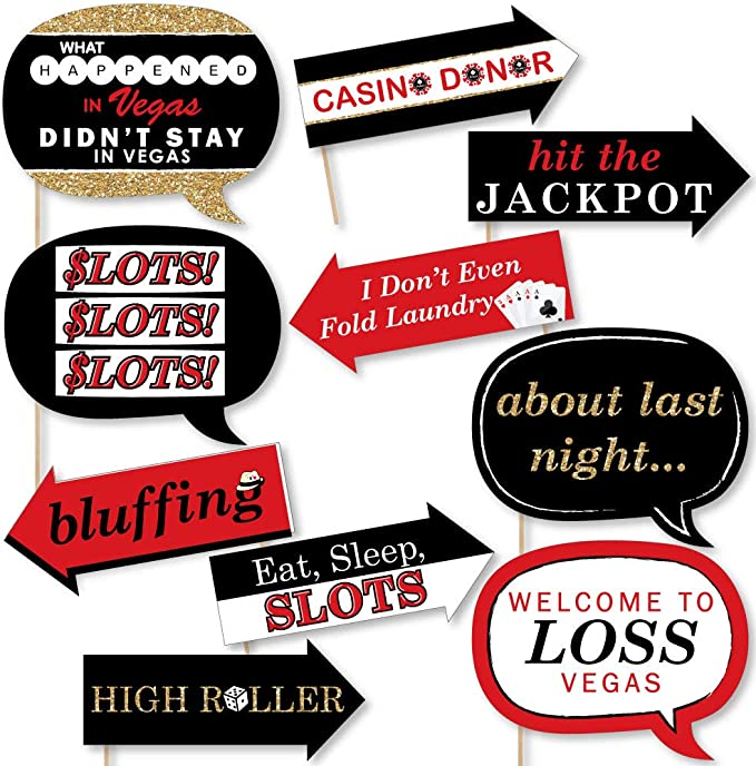 Amosfun Las Vegas Casino Photo Booth Props Night Party Decorations Glitter