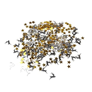 Magideal Sterne Rentiere Konfetti Confetti Metallisch Klein Gold