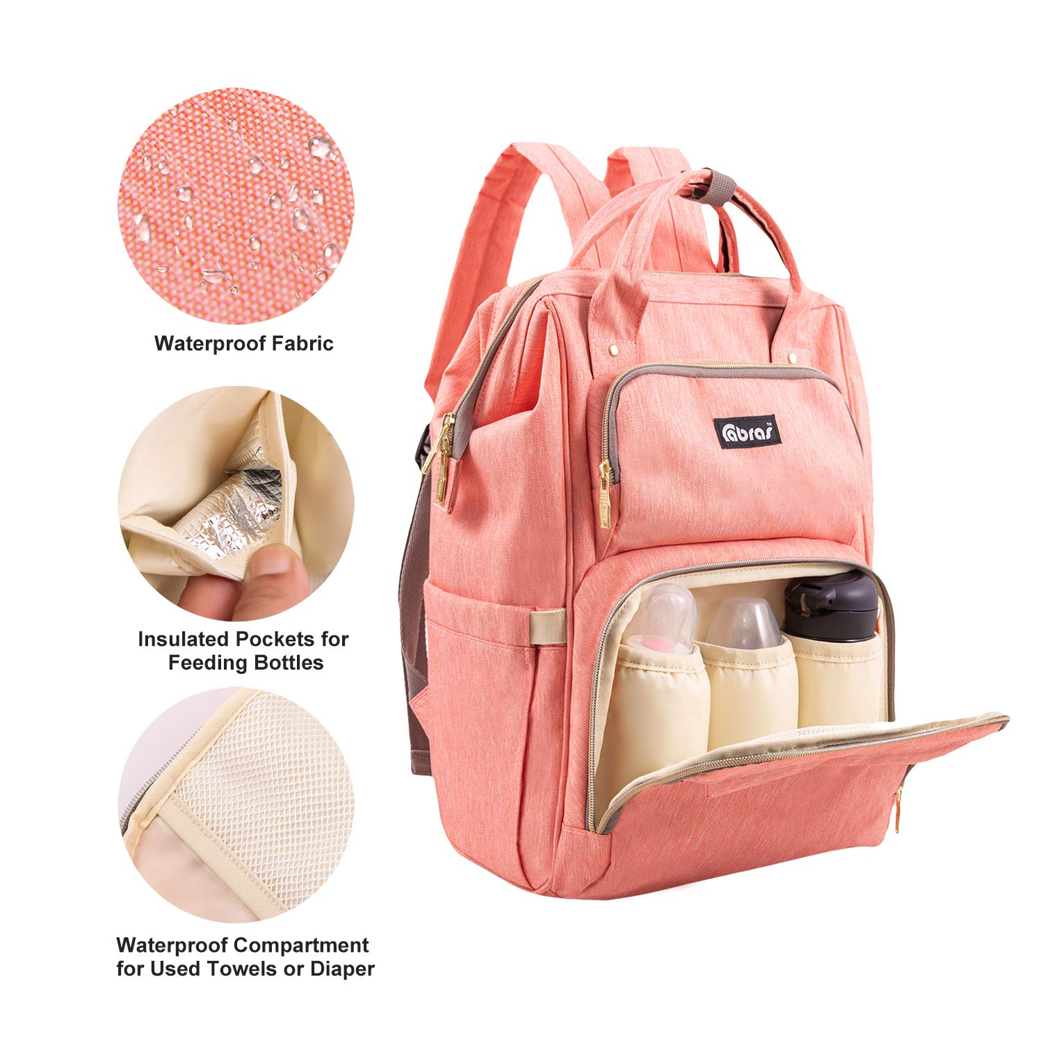 Coral Pink Diaper Bag Backpack Baby Waterproof with Stroller Strips Large Capacity