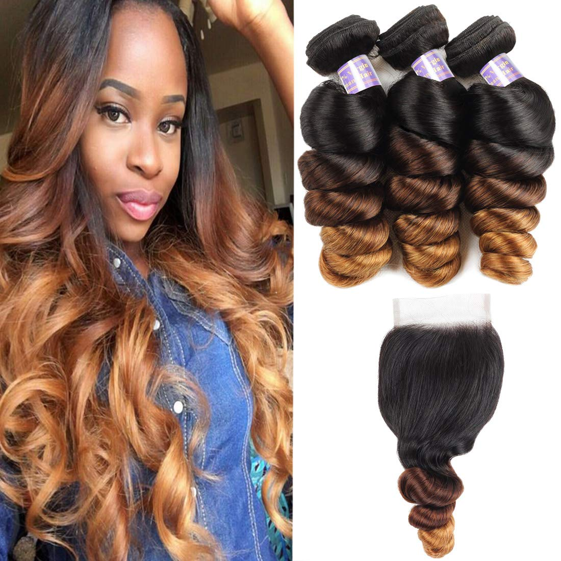 Allove Hair Brazilian Loose Wave Ombre Bundles With Closure Free Part (12 14 16+12inch) Virgin Remy Hair 10a 3 Tone 1B/4/27 Ombre Weave Human Hair Bundles With 4X4 Lace Closure
