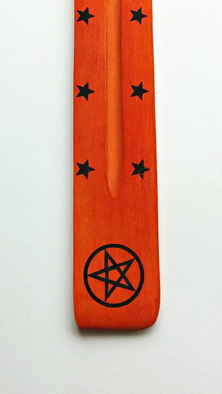 Hugo's Destiny Coloured Incense Holder Ash Catcher - Wood - Pentagram - 2 Free Incense Sticks ~ All Items Dispatched Same Day ~ Royal Mail ~ When Purchased Before 1pm Mon – Fri (Green) Hugo's Destiny