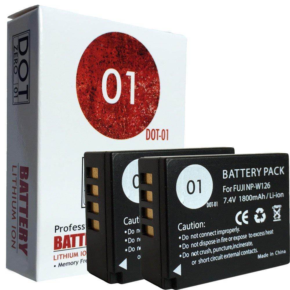 2x DOT-01 Brand Fujifilm X-T20 Batteries for Fujifilm X-T20 Mirrorless Digital Camera and Fujifilm XT20 Battery Bundle for Fujifilm NPW126 NP-W126