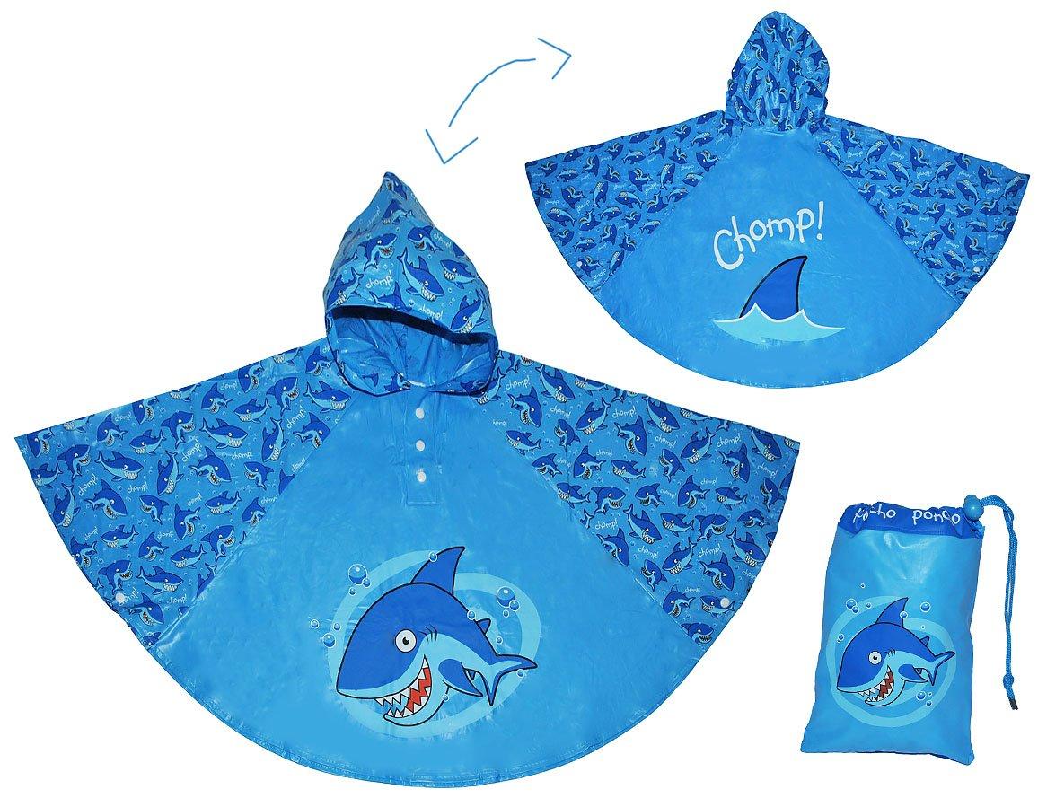 Unbekannt Regenponcho / Regencape - Hai Fisch - Gr. 104 - 110 - 116 - 122 - 128 - circa 3 bis 6 Jahre - für Kinder - Jungen Mädchen Fische Tiere Fahrrad / Regen Poncho - Regenmantel Regenjacke Kinder-land