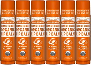 product image for Dr. Bronner's - Organic Lip Balm (Orange Ginger, .15 Ounce, 6-Pack) - Made with Organic Beeswax and Avocado Oil, For Dry Lips, Hands, Chin or Cheeks, Jojoba Oil for Added Moisture, Cooling