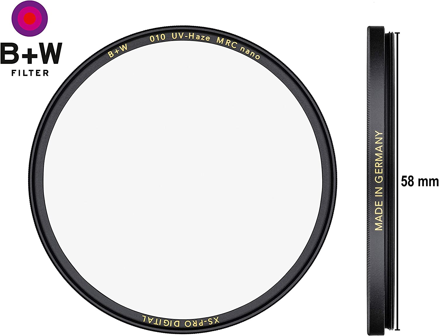 Photography Filter MRC Nano 010 16 Layers Multi-Resistant and Nano Coating XS-PRO Xtra Slim Mount W 58mm UV Protection Filter Clear Protector B 58 mm for Camera Lens
