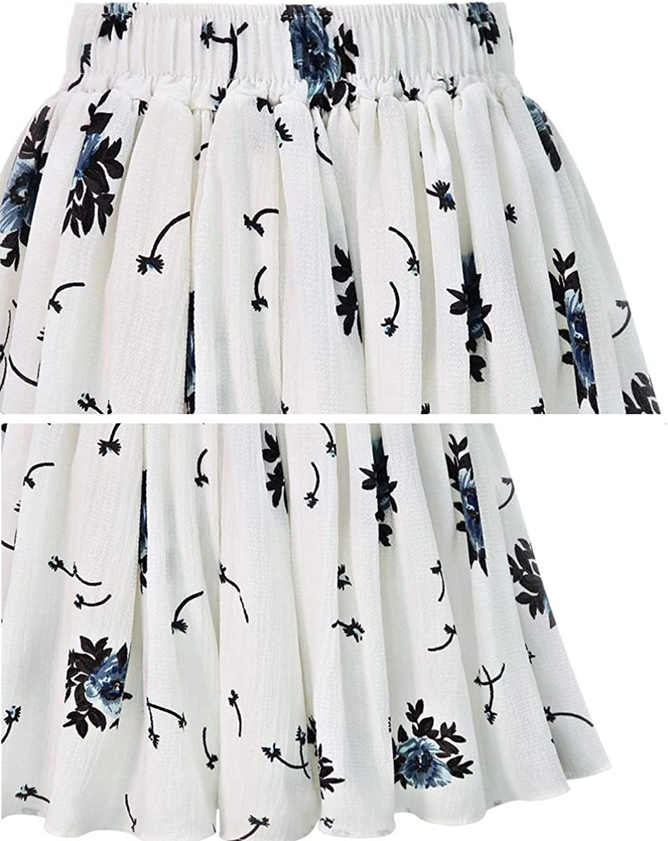 Fuwenni Womens Culotte Shorts Elastic Waist Wide Leg Shorts with Pockets Floral White US 14