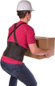 BraceAbility Industrial Work Back Brace | Removable Suspender Straps for Heavy Lifting Safety - Lower Back Pain Protection Belt for Men & Women in Construction, Moving and Warehouse Jobs (Medium)