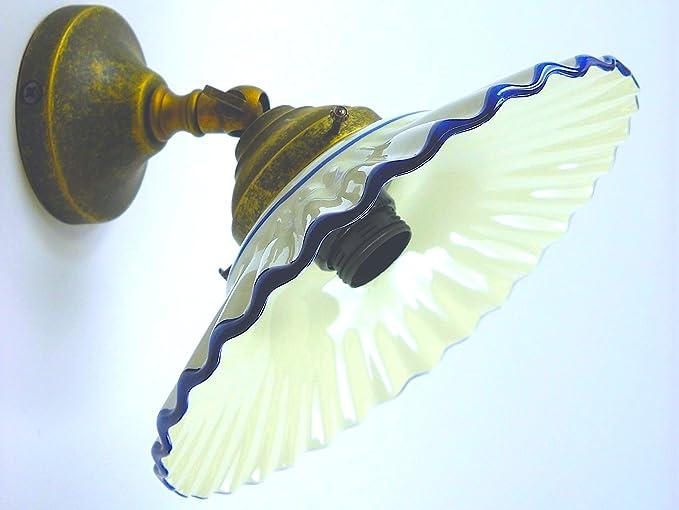 Applique in ottone anticato da parete con ceramica blu amazon