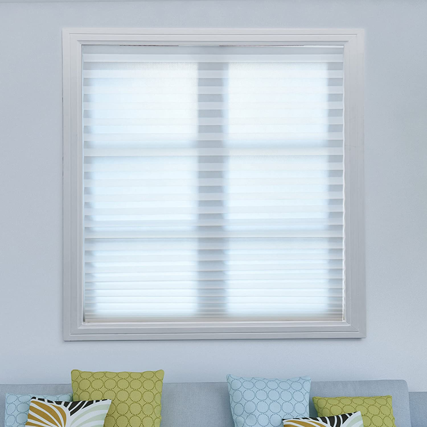 Acholo 1PACK Easy to Install Trim-at-Home Room Darkening Pleated Fabric Shades Blinds Black for Windows 36