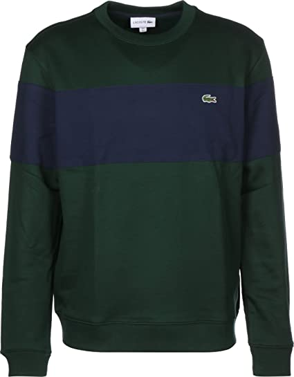 d2d9c846e1a Lacoste Sweatshirt Mens Sinople and Marine Panel Crew Neck TOP   Amazon.co.uk  Clothing