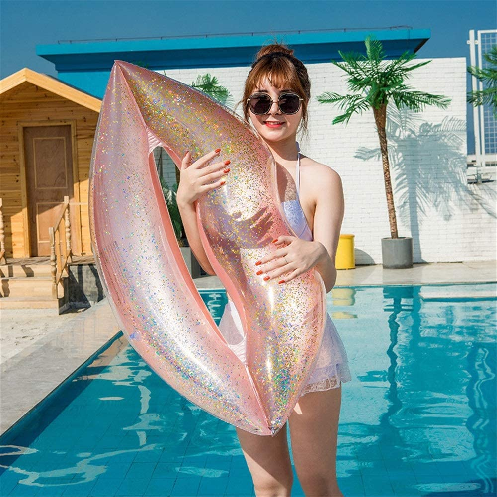 ZIXERN Piscina Hinchables Labios de Las Lentejuelas de Oro Rosa Inflable Flotador de la Piscina del Anillo de Goma Rosa Los niños y Adultos de (Color : Pink, Size : 110x80cm)
